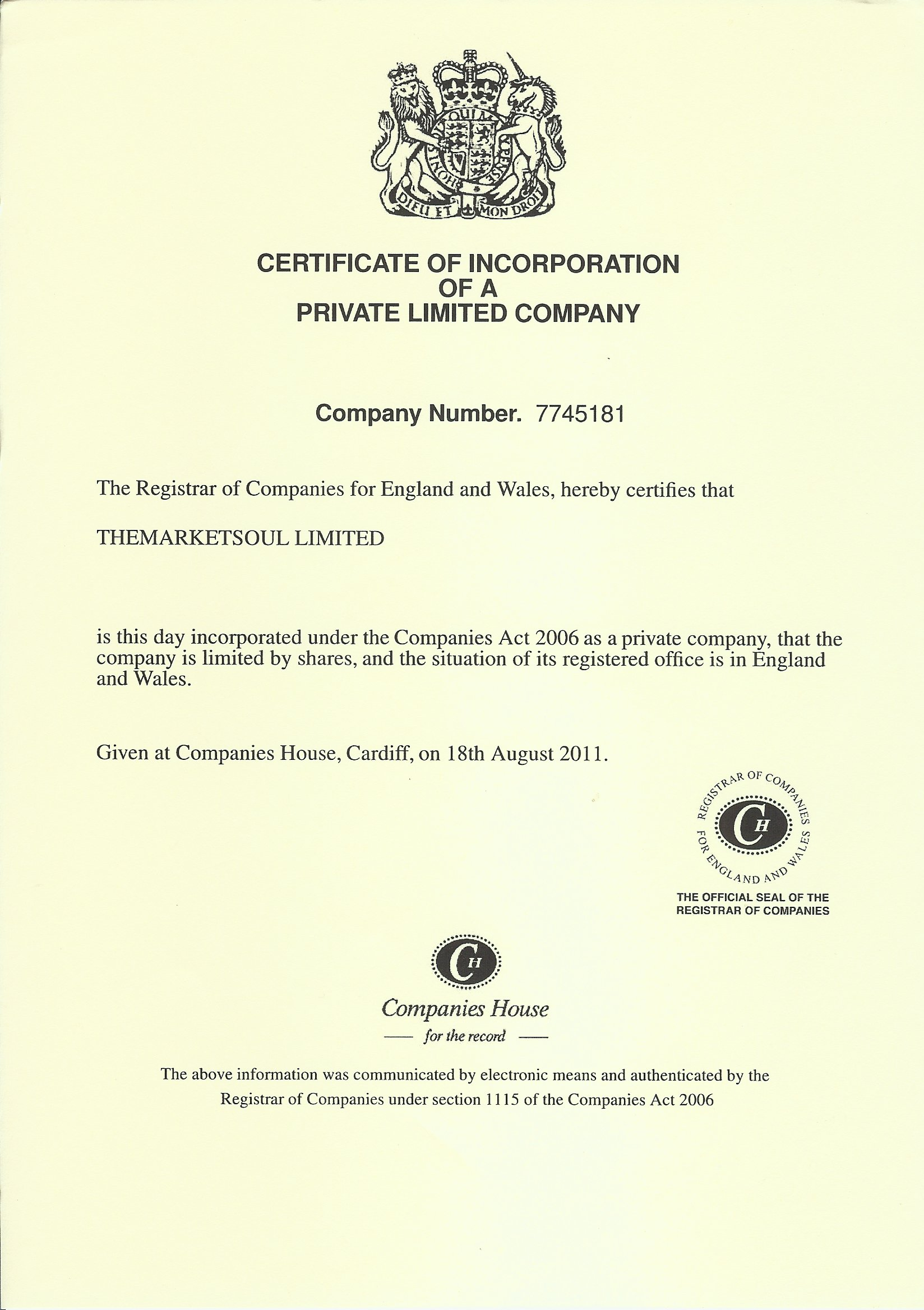 Themarketsoul limited themarketsoul 1999 2017 companies house registration certificate xflitez Images